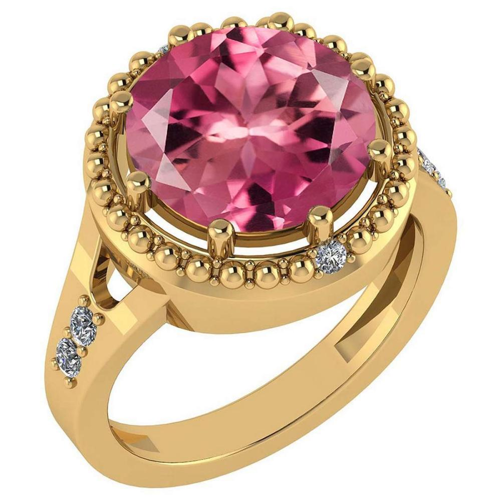 Certified 3.65 Ctw Pink Tourmaline And Diamond VS/SI1 Halo Ring 14K Yellow Gold Made In USA #1AC22492