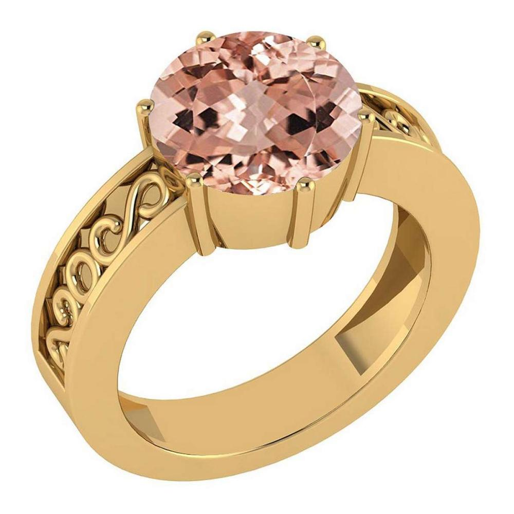 Certified 1.25 Ctw Morganite Solitaire Ring with Filigree Style 14K Yellow Gold Made In USA #1AC22780