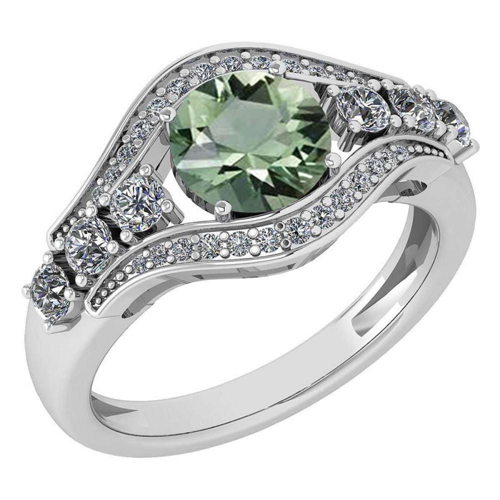 Certified 1.80 Ctw Green Amethyst And Diamond VS/SI1 Ring 14K White Gold Made In USA #1AC21823