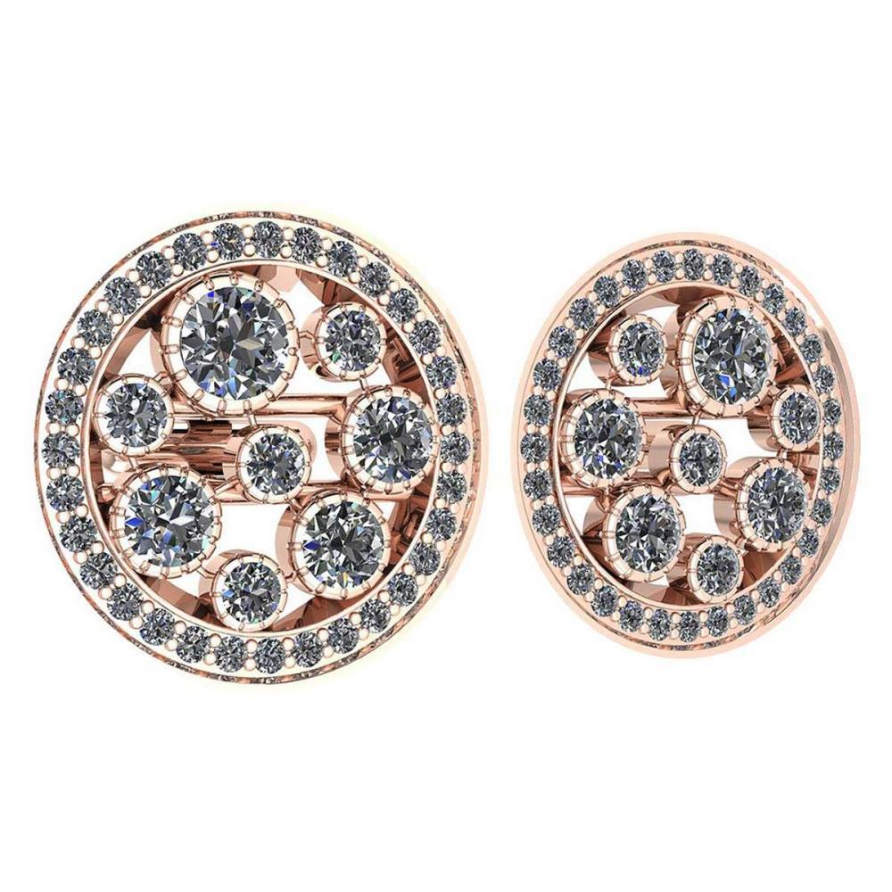 Certified 3.04 Ctw Diamond VS/SI1 18K Rose Gold Cufflinks #1AC23625