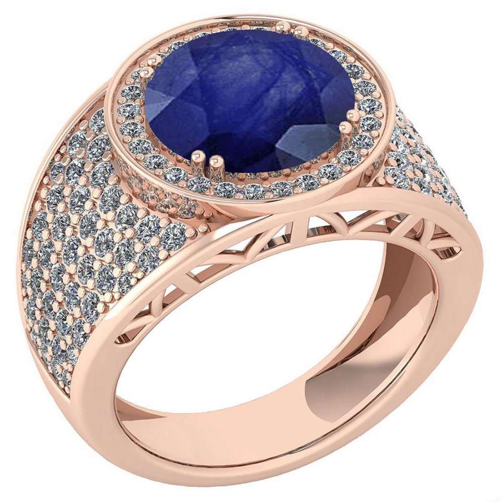 Certified 4.71 Ctw Blue Sapphire And Diamond VS/SI1 Unique Engagement Ring 14K Rose Gold Made In USA #1AC22764