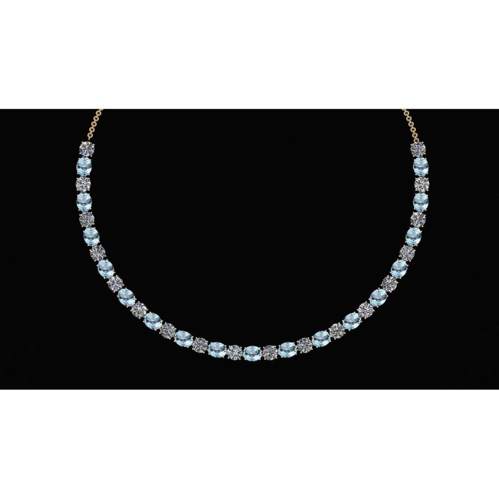 Certified 56.10 Ctw Aquamarine And Diamond I1/I2 Beautiful Necklace 14K Yellow Gold Made In USA #1AC23906