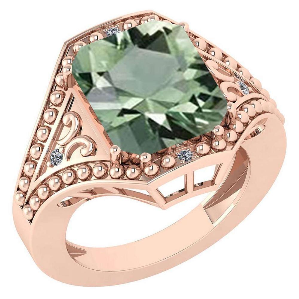 Certified 6.04 Ctw Green Amethyst And Diamond VS/SI1 Ring 14K Rose Gold Made In USA #1AC21887