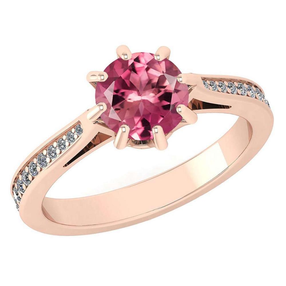 Certified 0.99 Ctw Pink Tourmaline And White Diamond Wedding/Engagement 14K Rose Gold Halo Ring (VS/SI1) #1AC17998