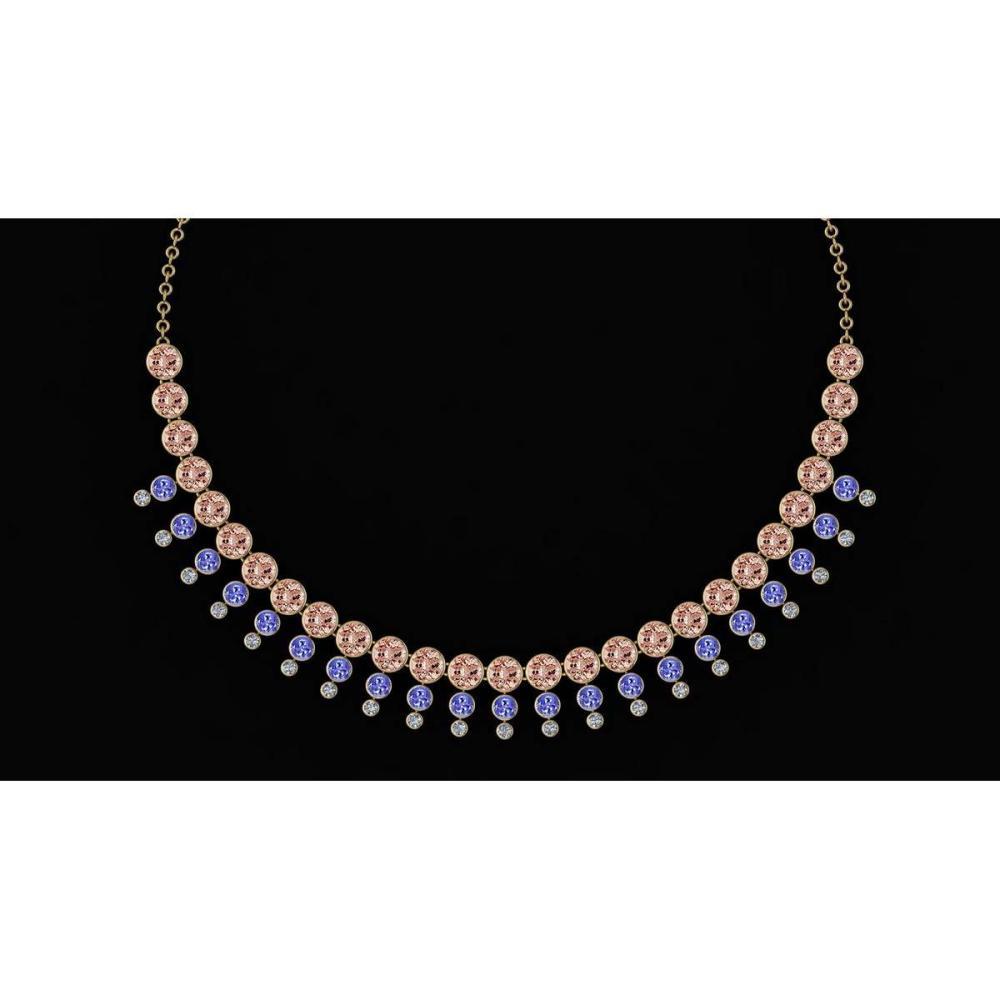 Certified 45.30 Ctw Tanzanite & Morganite And Diamond VS/SI1 Unique Beautiful Necklace 14K Yellow Gold Made In USA #1AC23881
