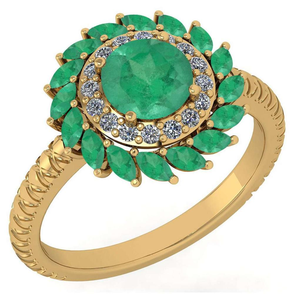 Certified 2.40 Ctw Emerald And Diamond VS/SI1 Halo Ring 14K Yellow Gold Made In USA #1AC23277