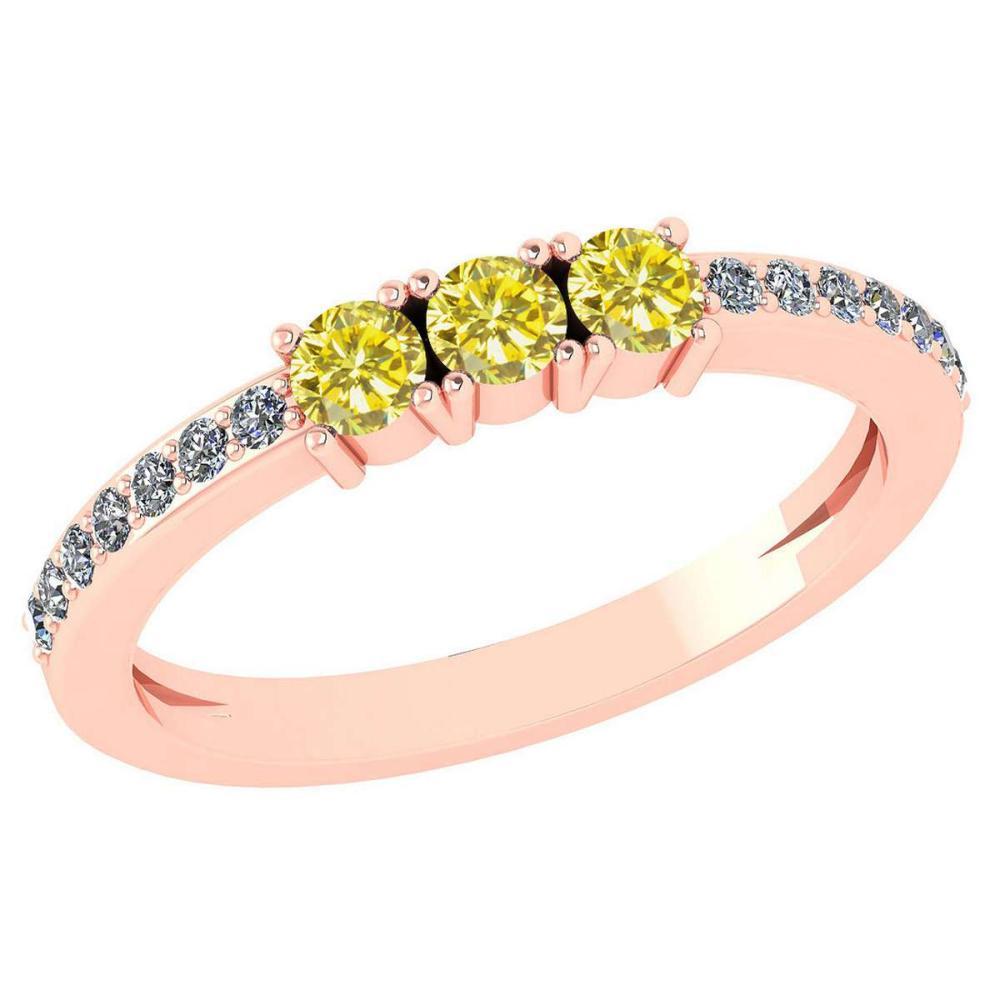 Certified 0.23 Ctw Fancy Yellow Diamond 18k Rose Halo Gold Ring #1AC15153