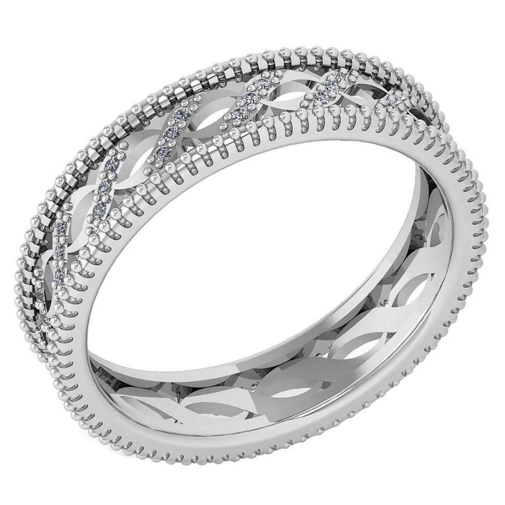 Certified 0.12 Ctw Diamond VS/SI1 Filigree Band 18K White Gold #1AC23605