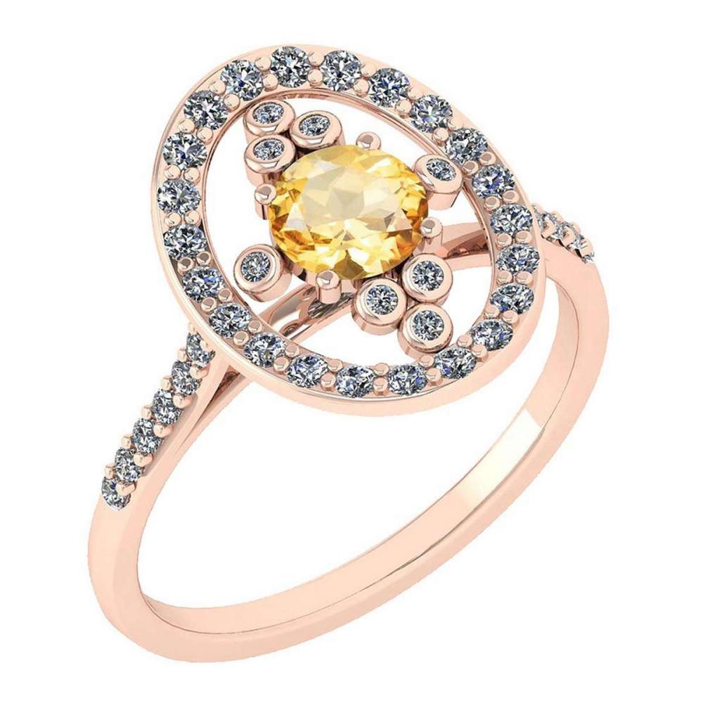 Certified 0.73 Ctw Citrine And Diamond VS/SI1 Halo Ring 14K Rose Gold Made In USA #1AC21867