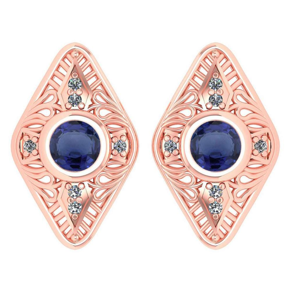Certified 1.46 Ctw Blue Sapphire And Diamond 18k Rose Gold Halo Stud Earring #1AC15188