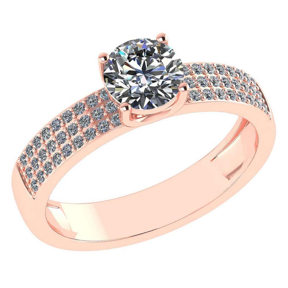 Certified 0.97 Ctw Diamond 14k Rose Gold Ring (VS/SI1) #1AC17845