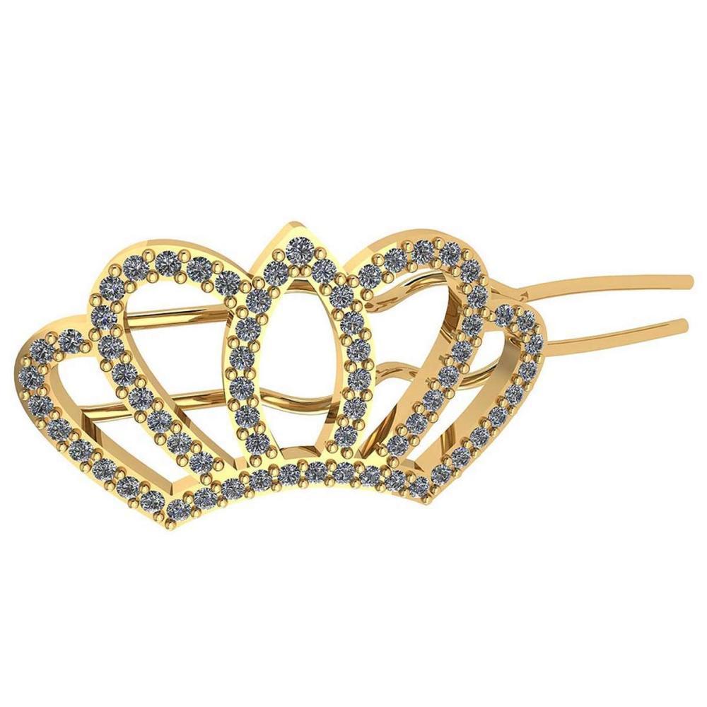 Certified 0.18 Ctw Diamond Ladies HairPin 18K Yellow Gold #1AC23594