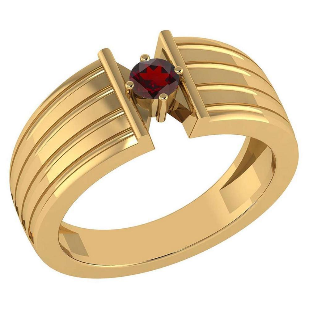 Certified 0.20 Ctw Garnet Solitaire Ring 10K Yellow Gold Made In USA #1AC23695