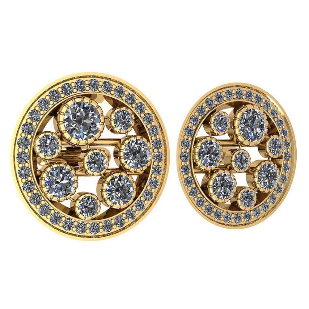 Certified 3.04 Ctw Diamond VS/SI1 18K Yellow Gold Cufflinks #1AC23624