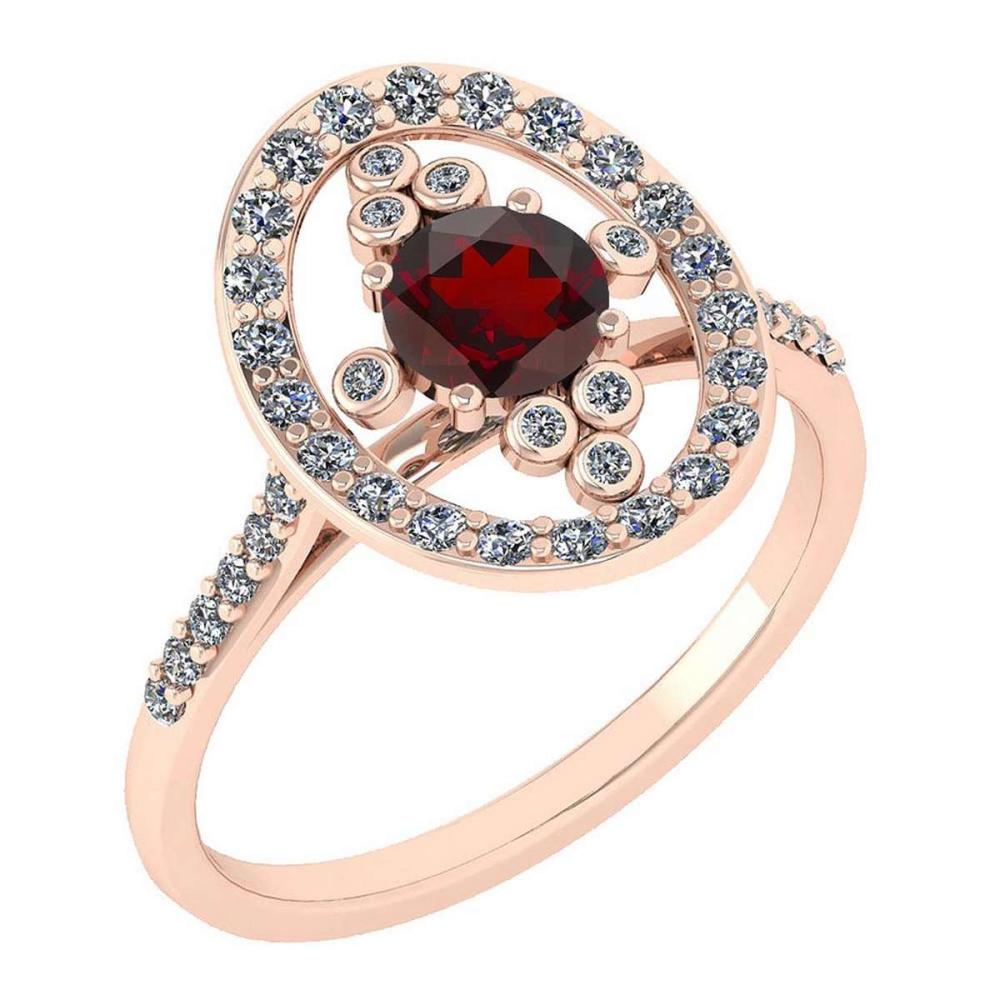Certified 0.73 Ctw Garnet And Diamond VS/SI1 Halo Ring 14K Rose Gold Made In USA #1AC21868