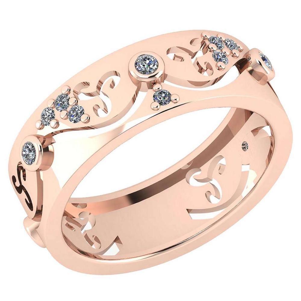 Certified 0.17 Ctw Diamond VS/SI1 Filigree Bands 18K Rose Gold #1AC23616