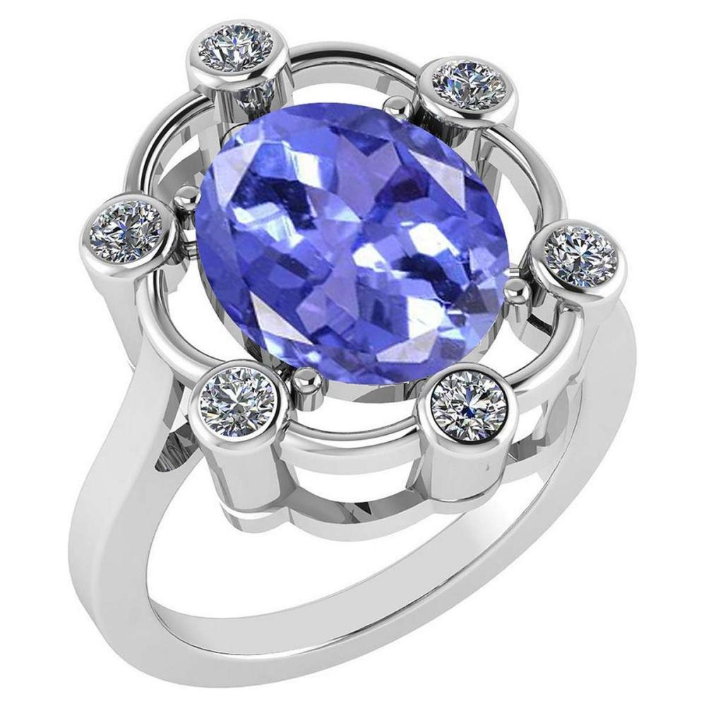 Certified 5.83 Ctw Tanzanite And Diamond VS/SI1 Halo Ring 14K White Gold Made In USA #1AC21988