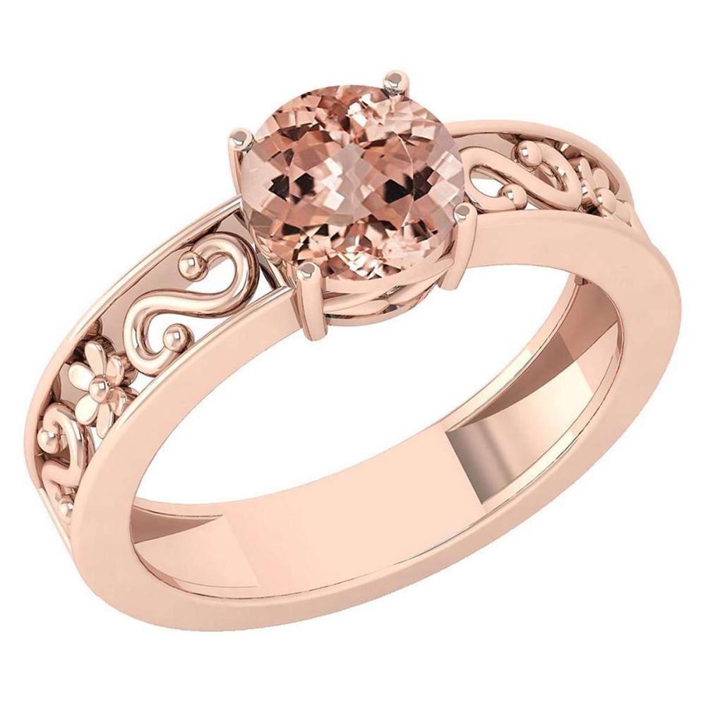Certified 1.25 Ctw Morganite Solitaire Ring with Filigree Style 14K Rose Gold Made In USA #1AC22738
