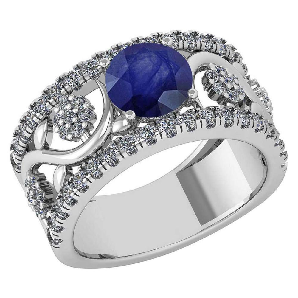 Certified 2.00 Ctw Blue Sapphire And Diamond VS/SI1 Wedding/ Engagement Style Halo Rings 14K White Gold #1AC20225