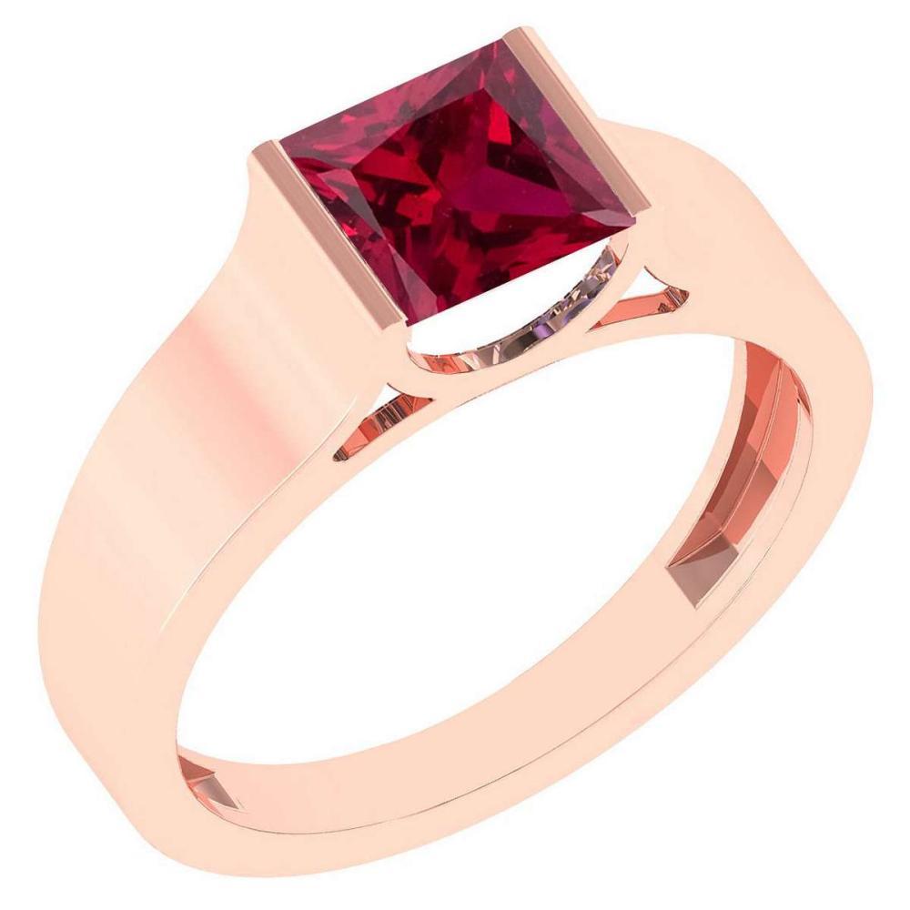 Certified 0.75 Ctw Genuine Ruby 18k Rose Gold Ring #1AC15185