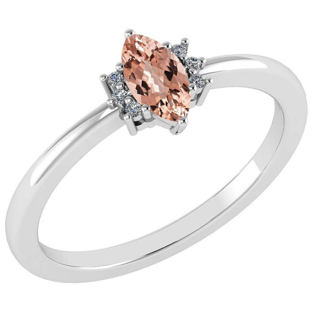 Certified 0.68 Ctw Morganite And Diamond VS/SI1 Ring 14K White Gold Made In USA #1AC23274