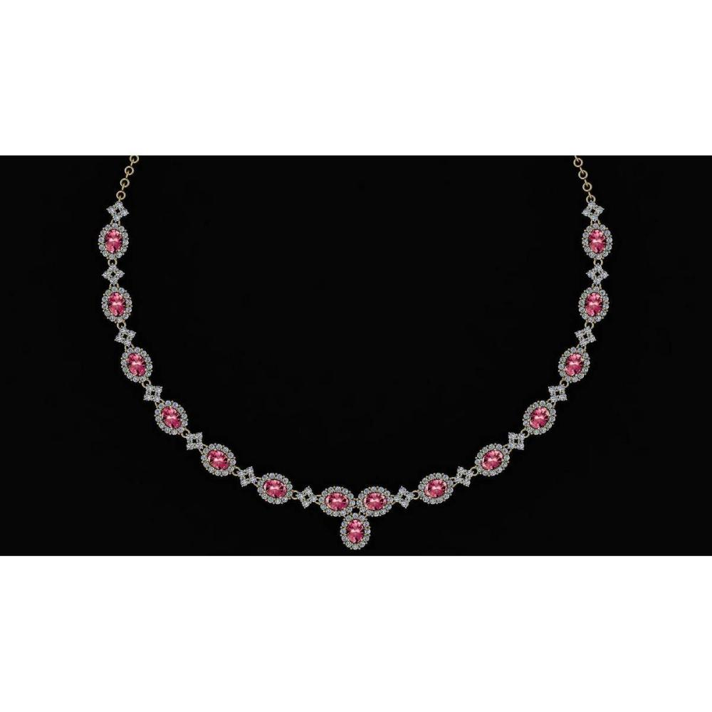 Certified 19.45 Ctw Pink Tourmaline And Diamond VS/SI1 Beautiful Necklace 14K Yellow Gold #1AC23773