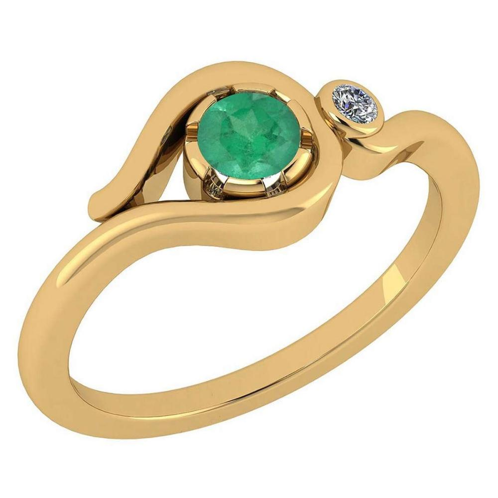 Certified 0.28 Ctw Emerald And Diamond VS/SI1 14K Yellow Gold Solitaire Ring #1AC20218