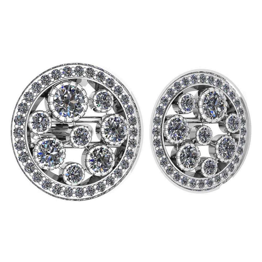 Certified 3.04 Ctw Diamond VS/SI1 18K White Gold Cufflinks #1AC23626