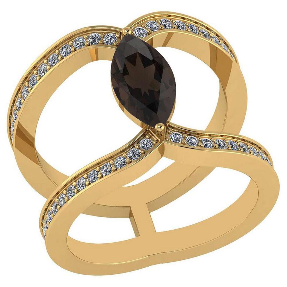 Certified 1.52 Ctw Smoky Quartz And Diamond VS/SI1 Ring14K Yellow Gold Made In USA #1AC23763