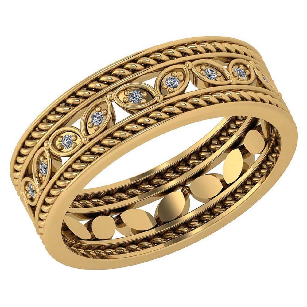 Certified 0.10 Ctw Diamond VS/SI1 Filigree Band 18K Yellow Gold #1AC23600