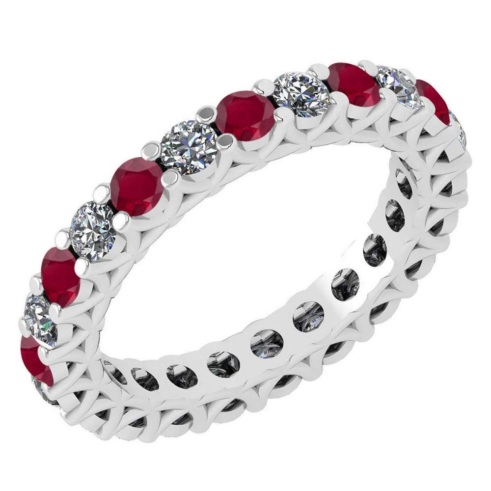 Certified 1.61 Ctw Ruby And Diamond 14k White Gold Halo Band #1AC15712
