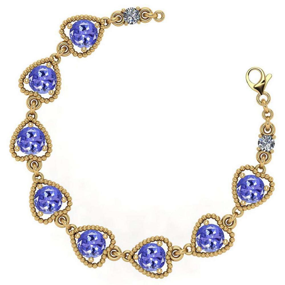Certified 3.80 Ctw Tanzanite And Diamond VS/SI1 Bracelet 14K Yellow Gold Made In USA #1AC22012
