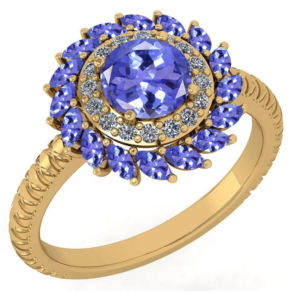 Certified 2.40 Ctw Tanzanite And Diamond VS/SI1 Halo Ring 14K Yellow Gold Made In USA #1AC23279