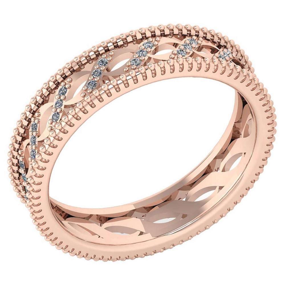 Certified 0.12 Ctw Diamond VS/SI1 Filigree Band 18K Rose Gold #1AC23604