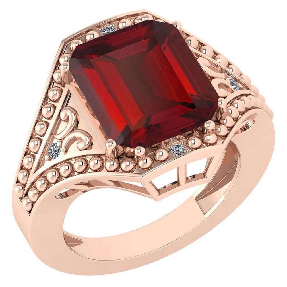 Certified 6.04 Ctw Garnet And Diamond VS/SI1 Ring 14K Rose Gold Made In USA #1AC21888