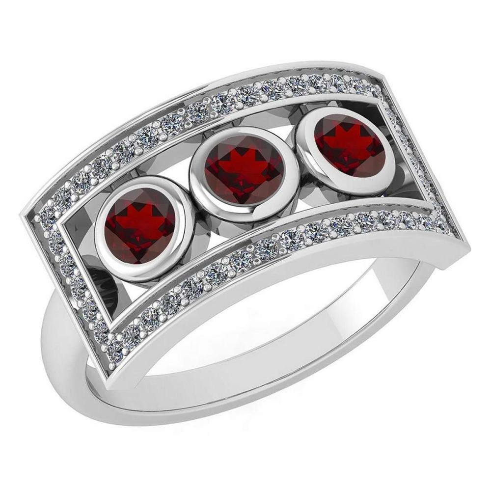 Certified 0.72 Ctw Garnet And Diamond Wedding/Engagement Style 14K White Gold Halo Ring (VS/SI1) #1AC18197