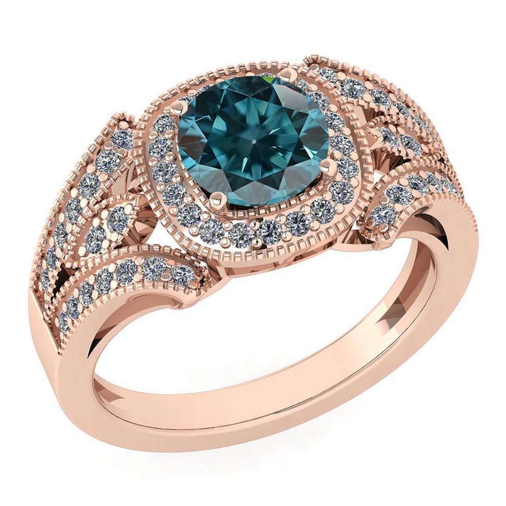 Certified 1.58 Ctw Treated Fancy Blue Diamond And White Diamond Wedding/Engagement Style 14k Rose Gold Halo Rings (I1/I2) #1AC18096