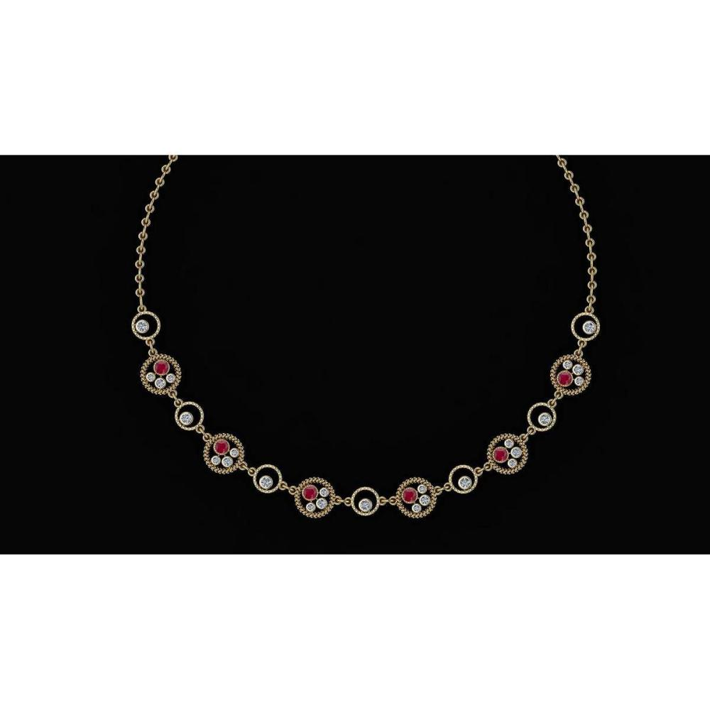 Certified 2.97 Ctw Ruby And Diamond VS/SI1 Beautiful Necklace 14K Yellow Gold Made In USA #1AC23910
