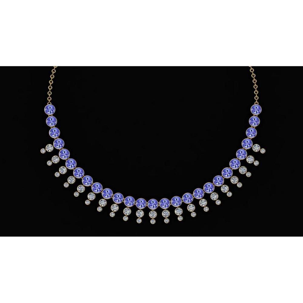 Certified 45.30 Ctw Tanzanite And Diamond VS/SI1 Unique Beautiful Necklace 14K Yellow Gold #1AC23768