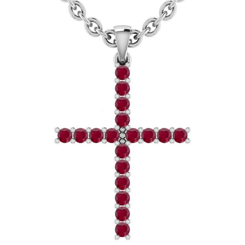 Certified 0.54 Ctw Ruby 18k White Gold Pendant #1AC15068