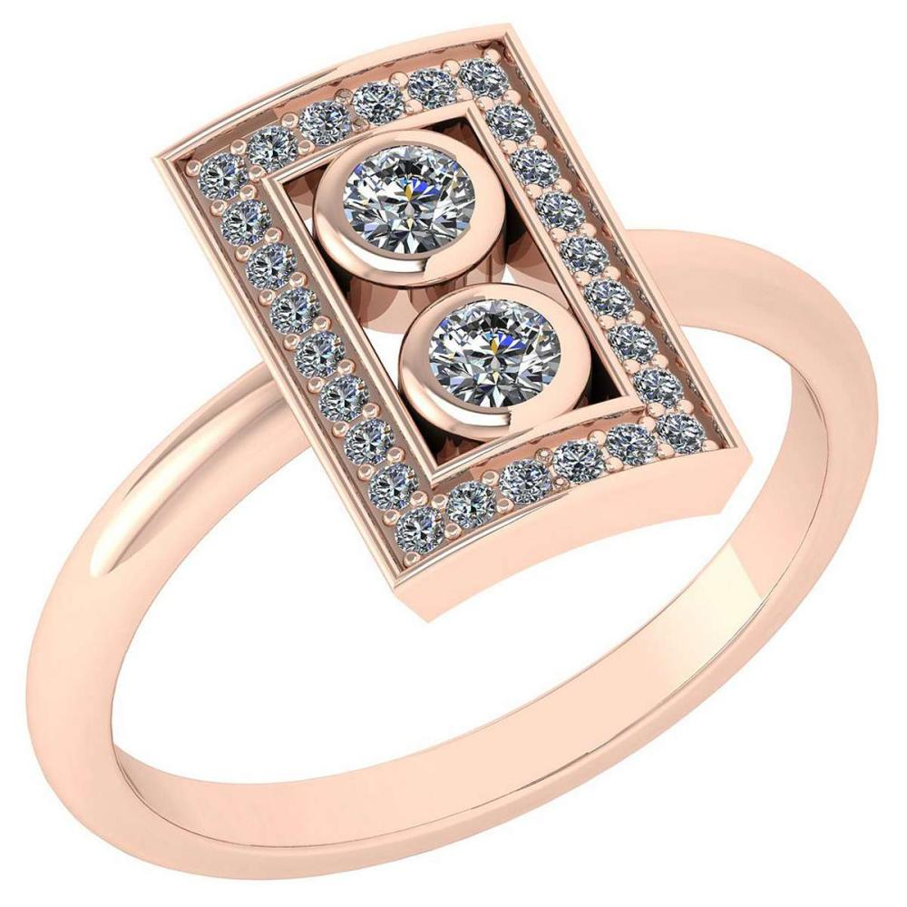 Certified 0.32 Ctw Diamond Wedding/Engagement Style 14K Rose Gold Halo Ring (SI2/I1) #1AC17893
