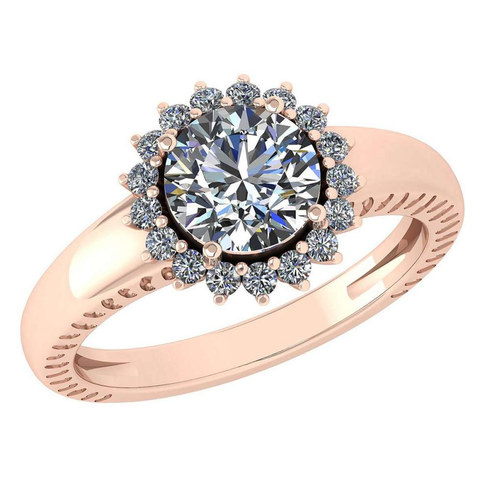 Certified 1.48 Ctw Diamond Wedding/Engagement Style 14K Yellow Gold Halo Ring (SI2/I1) #1AC17879