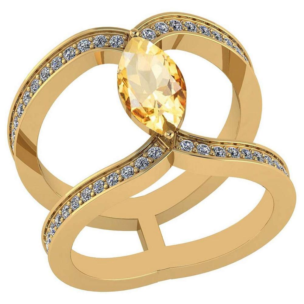 Certified 1.52 Ctw Citrine And Diamond VS/SI1 Ring 14K Yellow Gold Made In USA #1AC23758