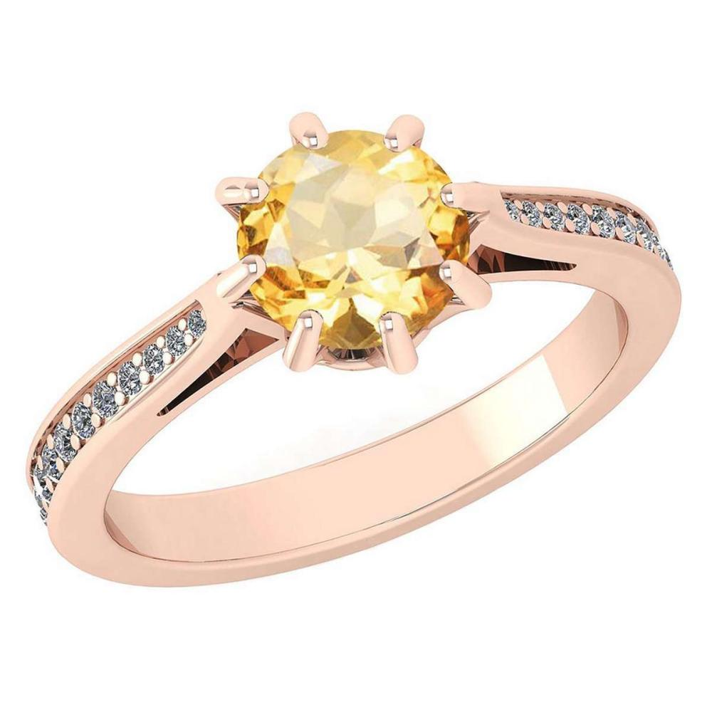 Certified 0.99 Ctw Citrine And White Diamond Wedding/Engagement 14K Rose Gold Halo Ring (VS/SI1) #1AC17997