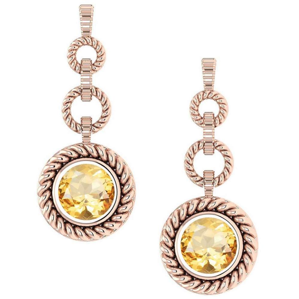Certified 5.00 Ctw Citrine Wedding/Engagement Style 14k Rose Gold Halo Hanging Stud Earrings #1AC18054