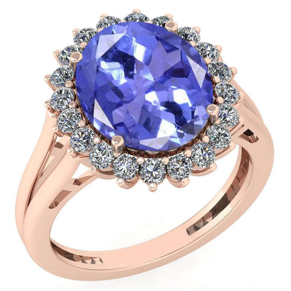 Certified 5.65 Ctw Tanzanite And Diamond VS/SI1 Halo Ring 14K Rose Gold Made In USA #1AC23267