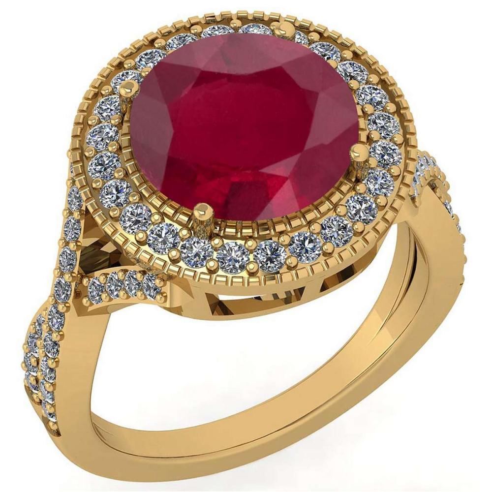 Certified 4.13 Ctw Ruby And Diamond VS/SI1 Engagement Halo Ring 14K Yellow Gold Made In USA #1AC22718