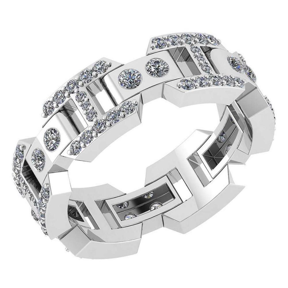 Certified 0.85 Ctw Diamond VS/SI1 Mens Bands 18K White Gold #1AC23534