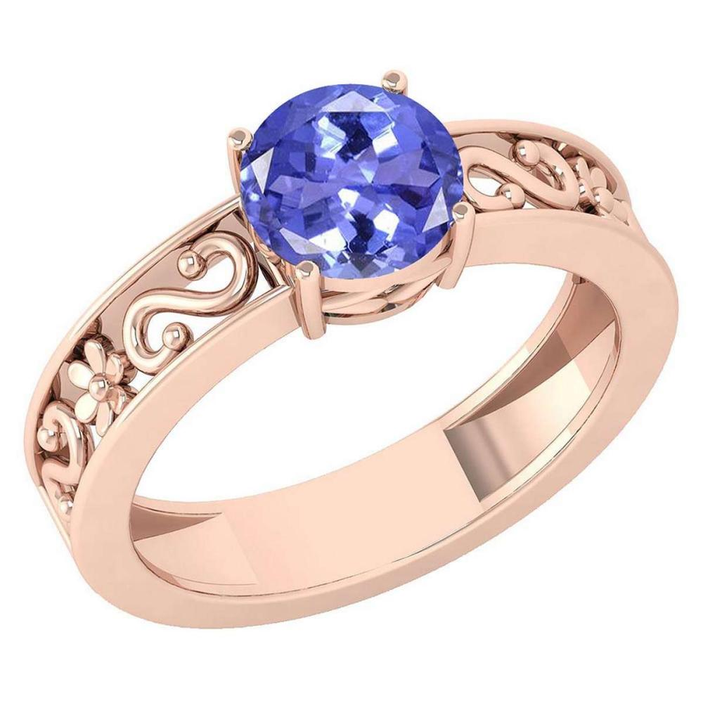 Certified 1.25 Ctw Tanzanite Solitaire Ring with Filigree Style 14K Rose Gold Made In USA #1AC22737