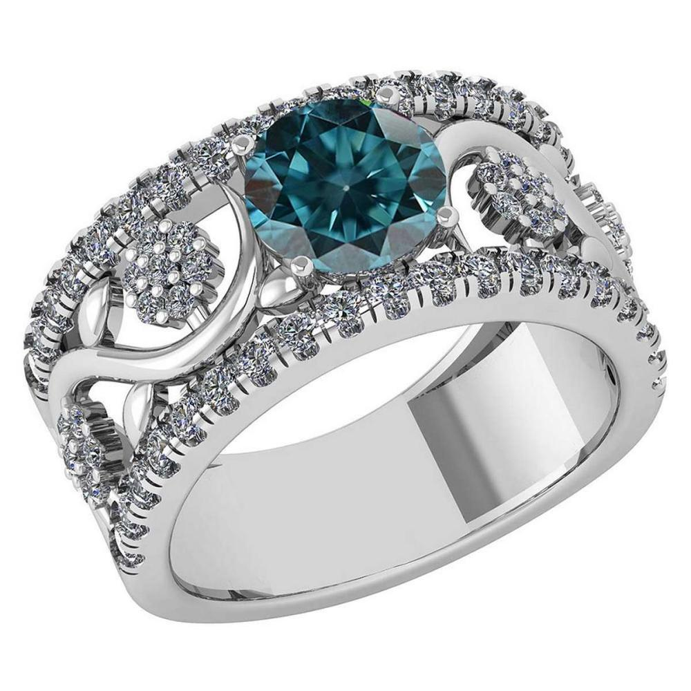 Certified 2.00 Ctw Treated Fancy Blue Diamond VS/SI1 And Diamond VS/SI1 Wedding/ Engagement Style Halo Rings 14K White Gold #1AC20227